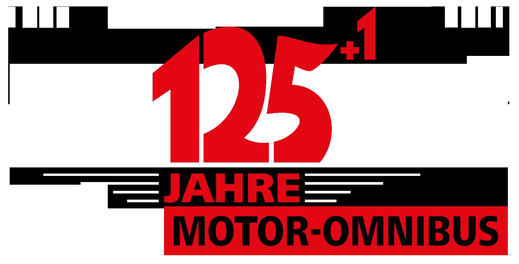 """Logo zur Jubliäumsveranstaltung """"125+1 Jahre Motor-Omnibus"""""""
